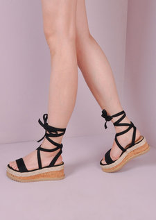 Suede Lace Up Braided Cork Wedge Sandals Black
